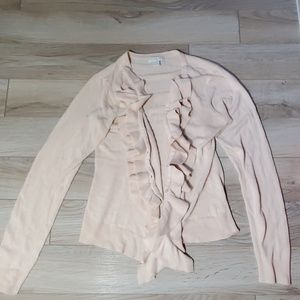 Pale Pink Frill Front Cardigan